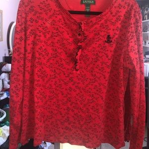 Red long sleeve with cute little back flowers.